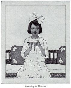 "Learning to Crochet/    From ""Shorter Course Industrial Art Text Books,"" Book Three, by Bonnie E. Snow and Hugo B. Froehlich, 1915, 1923"