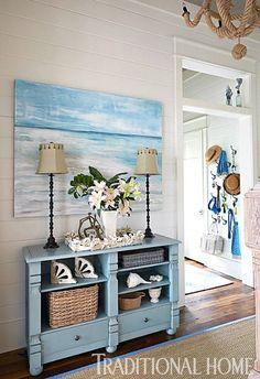 Blue Coastal Ocean Theme Foyer... http://www.completely-coastal.com/2017/01/coastal-beach-house-blue-beige-in-watercolor-Florida.html