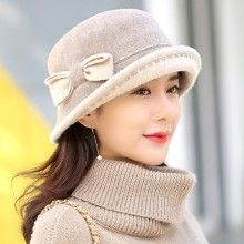 89341602a6bd6 Elegant bow bucket hat for women warm wool hats winter wear