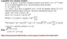 logarithm of a complex number pioneer mathematics math formulas