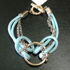 """""""LOVE """" toggle bracelet, blue Combination of goldtone chain and sturdy cord. New with tags. Zenzii  Jewelry Bracelets"""