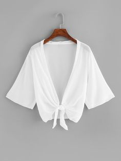 Chiffon Knot Hem Top Check out this Chiffon Knot Hem Top on Shein and explore more to meet your fashion needs! Plus Size Women's Tops, Plus Size Blouses, Bolero, Plain Tops, White Style, Size Model, Fashion News, Ootd Fashion, Fashion Women