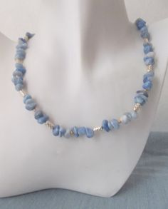 Blue Amazonite with Silver and Gold Necklace by ShadowoftheCross