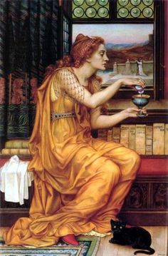 'The Love Potion' by Evelyn de Morgan:   witch with a black cat familiar at her feet