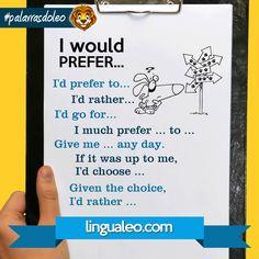 Falando sobre PREFERÊNCIA em Inglês.