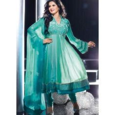 Green Chiffon Salwar Suit
