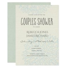 SIMPLE ELEGANT  SOFT BLUE FLORAL Couples Shower Card - summer wedding diy marriage customize personalize couple idea individuel