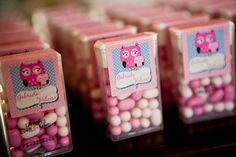 Sweet party favours for a baby shower or party change the pink to blue or theme colors