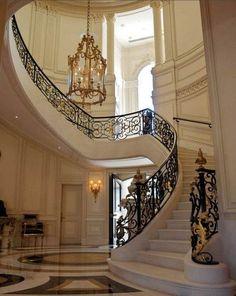 68 Trendy Ideas For Stairs Marble Entryway Grand Staircase Foyer Staircase, Staircase Design, Entryway Stairs, Stair Design, Grande Cage D'escalier, Entryway Chandelier, Gold Chandelier, Wrought Iron Stair Railing, Railings