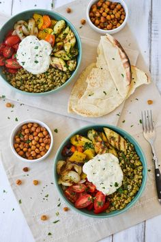 Middle Eastern Grilled Vegetable & Lentil Bowls with Falafel-Spiced Roasted Chickpeas & Tahini-Yogurt Sauce