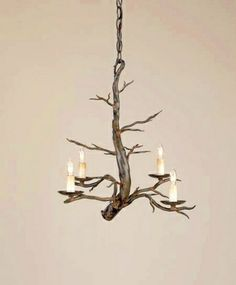 Off Treetop Small Chandelier by Currey & Company. whimsical piece with interesting iron work that requires a skillful blacksmith to do the intricate detailing on a hollow metal bar. Rustic Chandelier, Contemporary Chandelier, Chandelier Shades, Chandelier Lighting, Small Chandeliers, Branch Chandelier, Cabin Lighting, Lighting Ideas, Drum Shade
