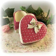 Heart Trinket Box Rosette Bow - Custom Ceramic Teaware - Roses And Teacups