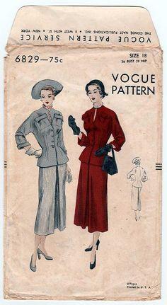 Vintage 1950's Vogue 6829 Women's Suit Dress Sewing Pattern, Fitted Jacket, Slim Skirt, Misses Size 18 Bust 36 PRE-CUT