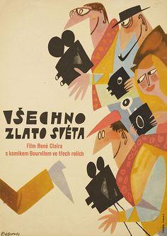 Czech poster for TOUT L'OR DU MONDE (René Clair, France, 1961) Artist: Adolf Born (b. 1930)