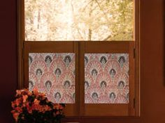 Make Fabric Shutters: Cafe Shutters from Picture Frames. I wouldn't use a picture frame but the concept is cute.