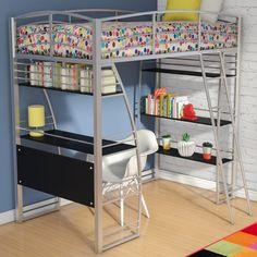 Harriet Bee Ogden Tent Twin Low Loft Bed with Slide Bunk Bed With Desk, Full Bunk Beds, Kids Bunk Beds, Bed With Drawers, Modern Kids Bedroom, Kids Bedroom Furniture, Bedroom Ideas, Stylish Bedroom, Girls Bedroom