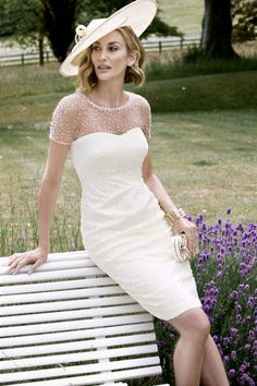 Mother of the Bride Style - Pencil Dress with Hand Beading Over Sheer Sweetheart Neckline