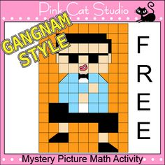 Free Gangnam Style Mystery Picture Activity: Your students will have a blast practicing their math skills by uncovering this fun Gangnam Style mystery picture. This activity is great for math centers, homework, whole class and early finishers.  By Pink Cat Studio