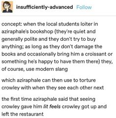 concept: when the local students loiter in aziraphale's bookshop (they're quiet and generally polite and they don't try to buy anything; as long as they don't damage the books and occasionally bring. Jandy Nelson, Good Omens Book, Fandom Crossover, Terry Pratchett, Couple Cartoon, Funny Couples, Julie, Funny Life, Funny Art