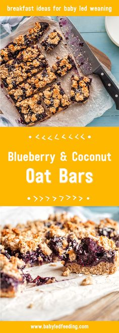 These Blueberry and Coconut Oat Bars are a yummy baby led weaning breakfast recipe. Full of goodness they're a big hit with kids of all ages via @https://www.pinterest.com/babyledfeeding
