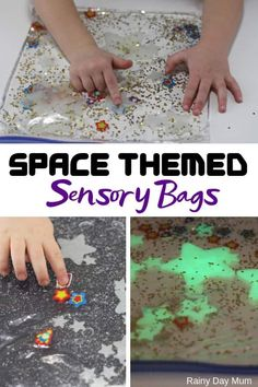Glow in the Dark Space Sensory Bag for Toddlers Two simple ideas for easy glow in the dark space themed sensory bags for toddlers. An easy way to do mess-free sensory play with your aspiring astronauts. Space Theme For Toddlers, Space Theme Preschool, Space Activities For Kids, Eyfs Activities, Infant Activities, Indoor Activities, Summer Activities, Family Activities, Outer Space Crafts