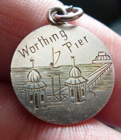 VICTORIAN LOVE TOKEN SILVER THREEPENCE CHARM HAND ENGRAVED WITH WORTHING PIER