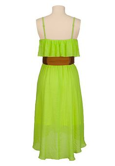 neon high-low belted gauze dress 30% Off Your Order