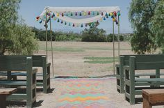 colored chevron alfombra aisle runner