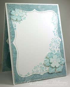 inside of a handmade greeting card ... would be a great front ... luve the touches of shine ... stitching around the edges ... layered flowers ... great asymmetrical balance ... beautiful ... Stampin' Up!
