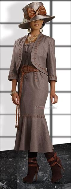 """Designer: Donna Vinci Description: This 42"""" dress and jacket set is just right for those early fall days when the weather is still warm. The bolero style jacket is 20"""" long and is trimmed with lacings of faux leather. Remove the jacket and there is a sundress underneath."""