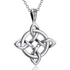 Unisex 925 Sterling Silver Celtic Good Luck endless Knot Pendant Necklace Irish #Harmonybell #PendantNecklace