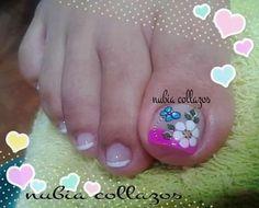 Cute Pedicures, Pedicure Nails, Diy Nails, Nail Art Designs Videos, Nail Designs, New Nail Art Design, Summer Toe Nails, Toe Nail Art, Love Nails