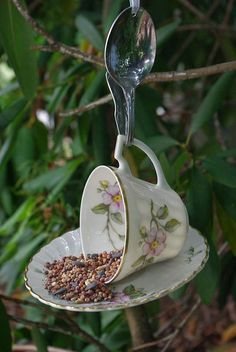 vintage tea cup bird feeder