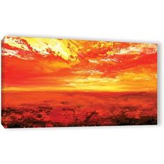 ArtWall Milen Tod Neather Gallery-wrapped Canvas, Size: 18 x 36, Red