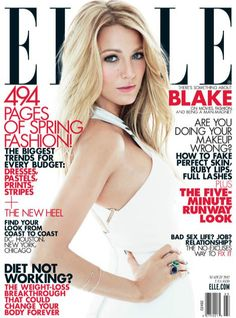 "ELLE 2012 cover. Blake Lively. #BlakeLively. ""I often think that a beauty mark like a facial mole may enhance your outer beauty, but your real beauty is in the Kindness of your heart."" - Deodatta V. Shenai-Khatkhate"