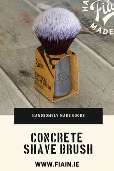This brush is so unique and the perfect gift for a shaving enthusiast. Made in our Galway workshop. The concrete features all the grain of the walnut originals. We use a unique concrete recipe which incorporates post-production Connemara marble dust. The tuxedo knot is made from vegan friendly synthetic fibres and whips up soap into a luxurious lather. #shavingbrush #concretebrush #veganshavingbrush #tuxedoknot