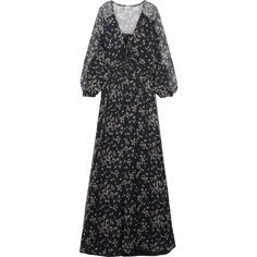 Paul & Joe Floral-print crinkled silk-chiffon maxi dress ($975) ❤ liked on Polyvore featuring dresses, boho dresses, plunge-neck dresses, plunge neck maxi dress, colorful maxi dress and multi color maxi dress