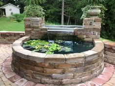 Decorative Rocks Ideas : Backyard Koi pond - All For Garden Patio Pond, Pond Landscaping, Ponds Backyard, Above Ground Pond, Raised Pond, Garden Pond Design, Diy Water Fountain, Goldfish Pond, Turtle Pond