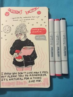 i hope we can spend a day opening gifts and celebrating with Elf and candy canes ! Sketchbook Tumblr, Sketchbook Pages, Kunstjournal Inspiration, Sketchbook Inspiration, Notebook Drawing, Doodles, Sketch Journal, Art Hoe, Copics