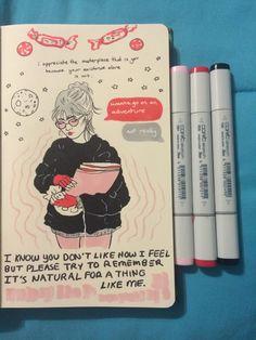 i hope we can spend a day opening gifts and celebrating with Elf and candy canes ! Sketchbook Tumblr, Sketchbook Pages, Kunstjournal Inspiration, Sketchbook Inspiration, Notebook Drawing, Sketch Journal, Doodles, Art Hoe, Illustration