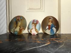 "LOT of 3 MINIATURES dating 19th C "" Portrait of 3 charming LADIES or young girls #Miniature"