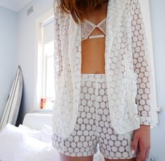 White Laced Short Suit Paired with a Lacey Bra