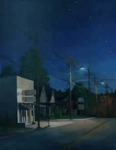 Cabarrus Ave at Night, Oil on Board, night painting, by the traditional realism artist Paul Keysar Fantasy Landscape, Landscape Art, Landscape Paintings, Landscapes, Nocturne, Night Illustration, Moonlight Painting, Forest Art, Painting Gallery
