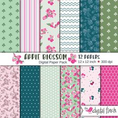 """Apple Blossom digital scrapbook paper - Cherry blossom - Spring flowers - 12x12"""" - 300 dpi - instant download - commercial use by TheDigitalFinch on Etsy"""