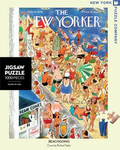 """Beachgoing - New York Puzzle Company. A busy day at the beach.  Seems as though everyone has the same idea this sweltering July day.  This crazy crowd is doing everything under the sun; tanning, chatting, eating, splashing, swimming, ogling, and having a general good ol' time. New Yorker cover from July 8, 1939 by Richard Taylor. 1000 Pieces.  Finished puzzle size is 20"""" x 27"""""""