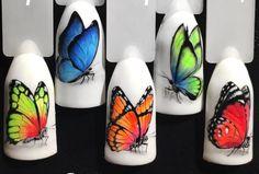 #butterflynail Animal Nail Designs, Bright Nail Designs, Nail Art Designs, Summer Acrylic Nails, Summer Nails, Nail Swag, Cute Nails, Pretty Nails, Monogram Nails