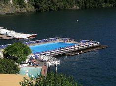 Villa D'este in Cernobbio with the over the moon pool cantilevered over Lake Como.