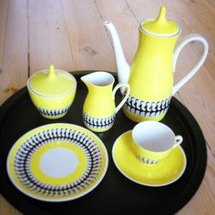 Found and bought at #fleamarket #rare #original #yellow #black #goat #motifs #coffee #set #porcelain #1940's #manufactured by #Oscar #Schlegelmilch #design #vintage #DDR #German