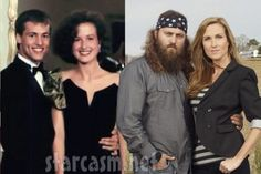 Willie & Korie then and now. he looks so different, but i can see why they used to call him dimples! Duck Dynasty