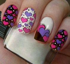 Valentine's Day Nail Designs, Creative Nail Designs, Glam Nails, Pink Nails, Valentine Nail Art, Heart Nail Art, Pretty Nail Art, Cute Acrylic Nails, Stylish Nails
